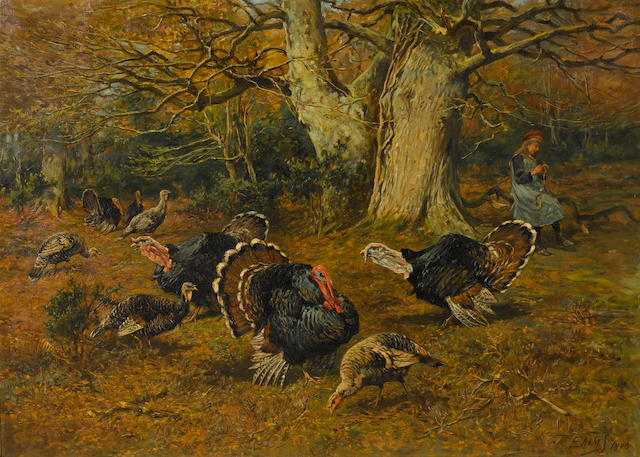 John Emms (British, 1843-1912) Turkeys in a paddock