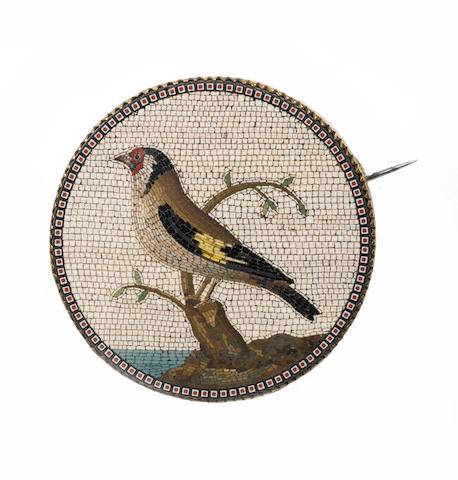 A good late 18th century 'Grand Tour' micro mosaic Medallion depicting a finch by Giacomo Raffaelli,