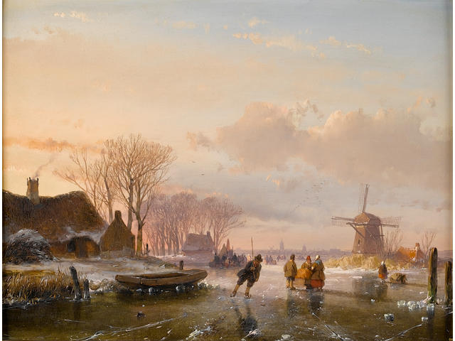 Andreas Schelfhout (Dutch, 1787-1870) Skaters and figures on a frozen river, Haarlem in the distance