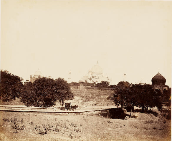 AGRA  Distant view of the Taj Mahal, with a carriage in the foreground, by John Murray, c.1858-1862
