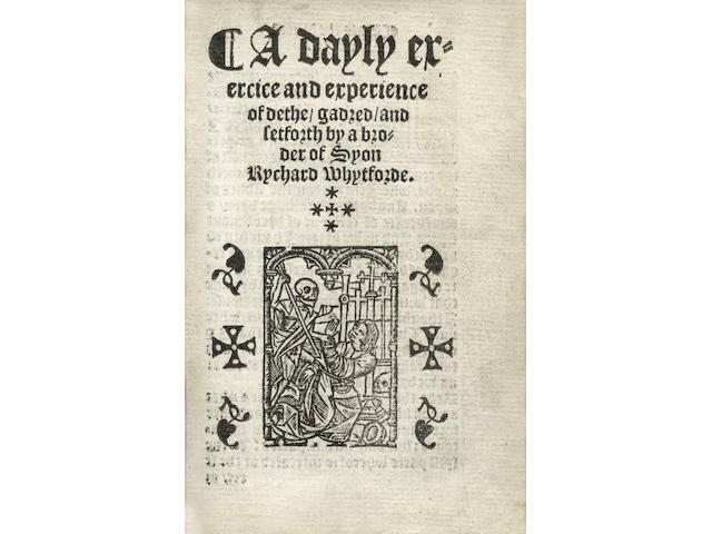 WHITFORD (RICHARD)] The Conte[n]tes of this Boke. A werke of preparacion, or of ordinaunce unto communion, or howselyng. The golden pystle, an alphabete or a crosrowe called an A.B.C. and the werke for housholders with a dayley exercyce and experience of dethe all duely corrected and newly prynted