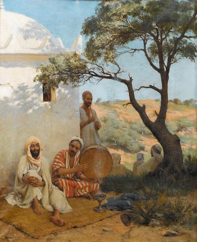 Paul Jean Baptiste Lazerges (French, 1845-1902) Arab musicians