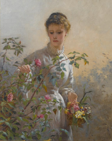 George Elgar Hicks, RBA (British, 1824-1914) A Summer bouquet