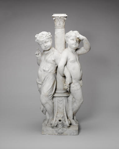 Albert Desenfans: plaster cast depicting two Putti near a Fountain