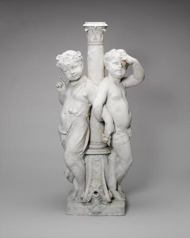 Albert Desenfans: plaster cast depicting two Putti near a Fountain