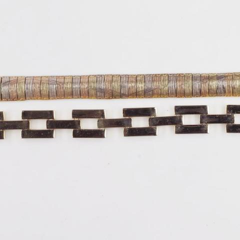 A tri-colour bracelet, (2)