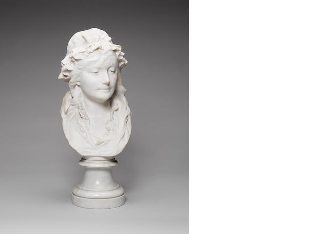 A marble bust of a Lady signed by Desenfans