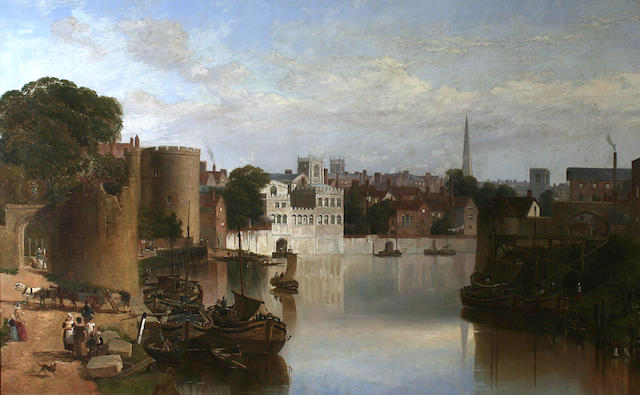 William Richardson (British, 1842-1883) View of the ruins of the water tower, the river frontage of the Guildhall and the lantern tower of the Church of St. Helens, from the River Ouse, York