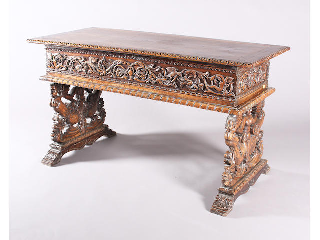 Carved walnut table