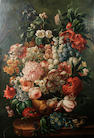 Continental school, late 19th century; An arrangement of flowers in a classical vase