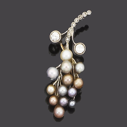 Two cultured pearl novelty brooches