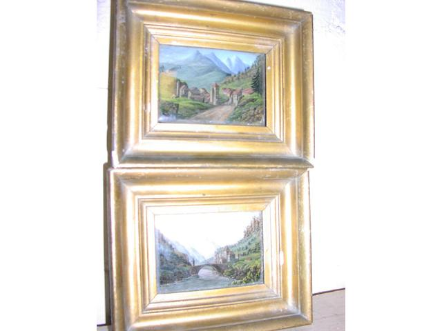 Continental School, (19th Century) Le Pont de St Maurice, and another similar, 6.5 x 9.5cm.  ((a pair) (2))