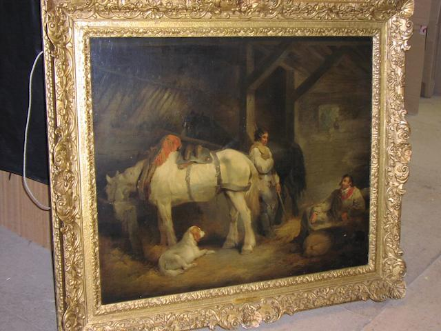 George Morland (British, 1763-1804) A stable interior, 64 x 76cm.