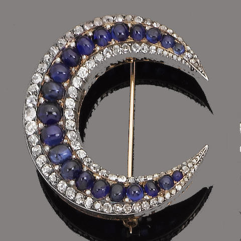A late 19th century sapphire and diamond crescent brooch, circa 1890