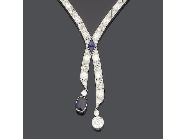 A negligée sapphire and diamond necklace,