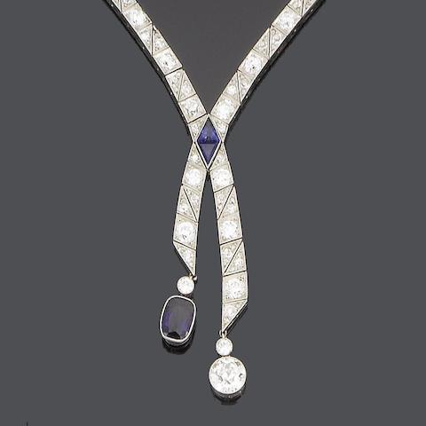 A negligée sapphire and diamond necklace,