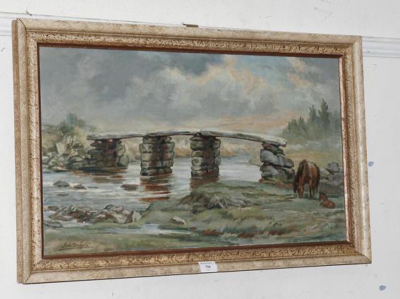 Lewis Duckett, 20th century Postbridge, Dartmoor, signed, oil on canvas, 40cm x 70cm.