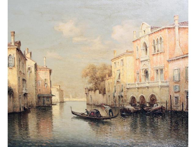 Vallin  (Hugo Golli) (Italian, b.1921) A Venetian canal