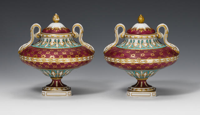A pair of Chelsea Derby vases and covers circa 1770