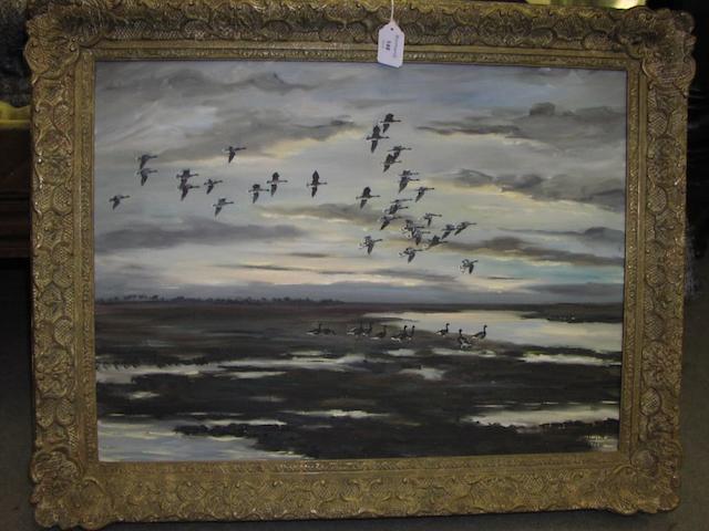 "Hugh Monahan (Irish, 1914-1970) ""Pinkfeet, Evening - Solway"", marshland with geese, 44 x 60cm."
