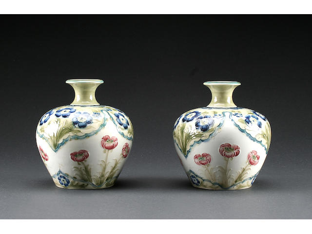 A pair of Macintyre Moorcroft 'Poppies and Forget-me-nots' vases, c.1908