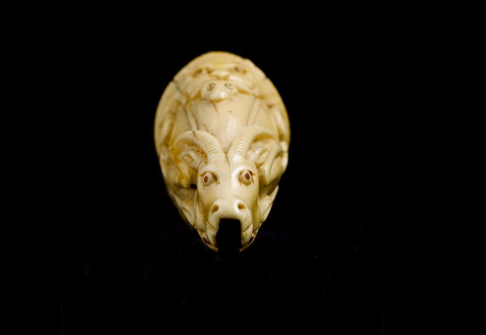 A Moghul ivory powder flask