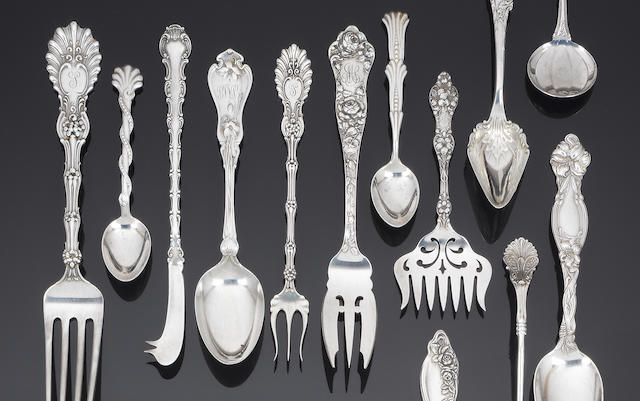 An assorted amount of American silver and electroplated flatware and cutlery, various dates and make