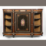 A Victorian ebonised and gilt mounted credenza