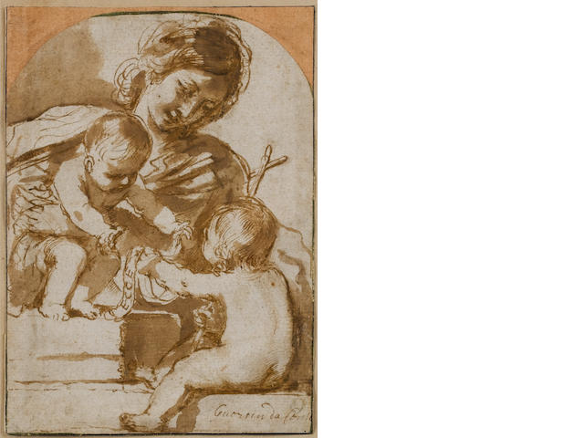 Guercino? Virgin Child & St John, pen and wash