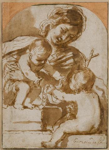 Giovanni Francesco Barbieri, called il Guercino (Cento 1591-1666 Bologna) The Madonna and Child with the Infant Saint John Baptist 171 x 125 mm.