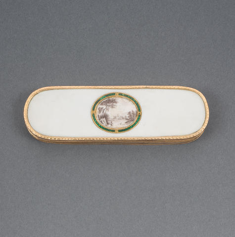 Ivory and 18ct gold mounted toothpick case with enamelled landscape scene. France or Geneva 1780