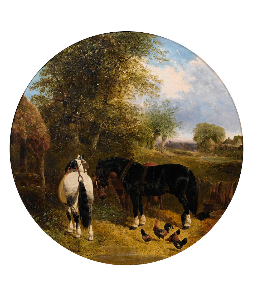 John Frederick Herring, Jnr. (British, 1815-1907) Horses at a trough; Horses with chickens circular ((2))
