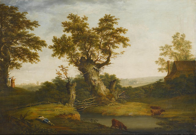 Circle of George Smith of Chichester (British, 1714-1776) A wooded river landscape
