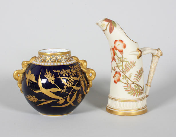A Royal Worcester tusk ice jug and a Grainger & Co vase