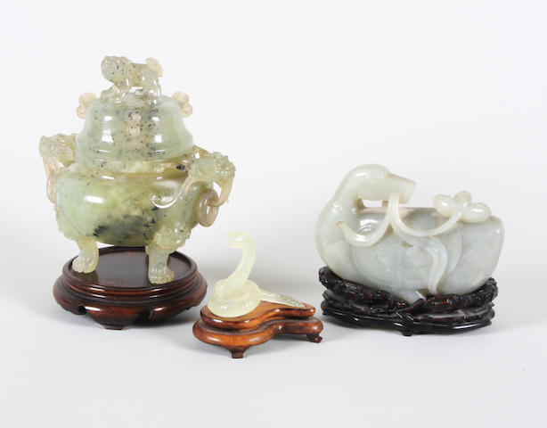 A Chinese carved jade censer and cover, a carved jade model of a duck and another of a serpent