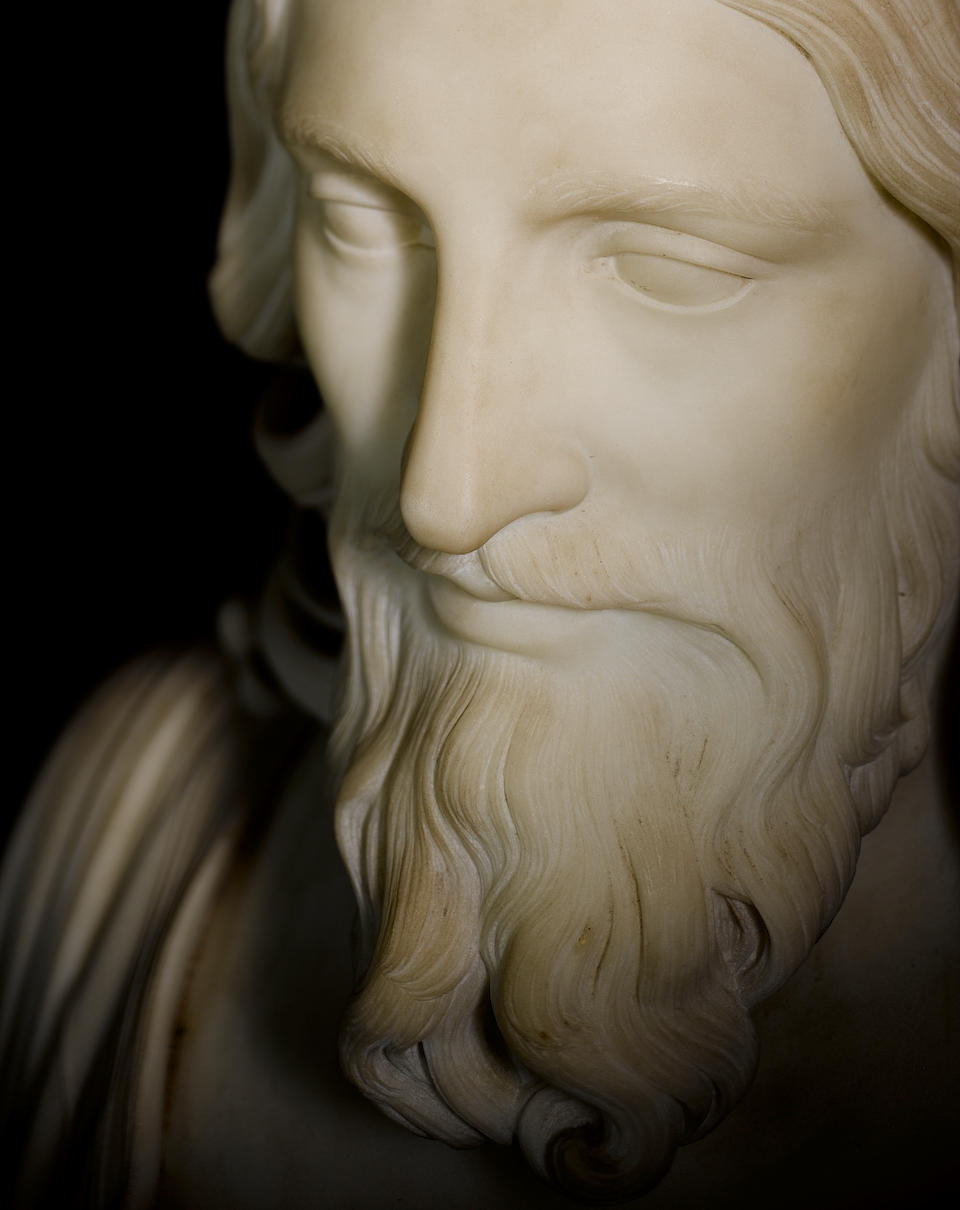 Hiram Powers, American (1805-1873) An important sculpted white marble bust of 'The Ideal Christ'