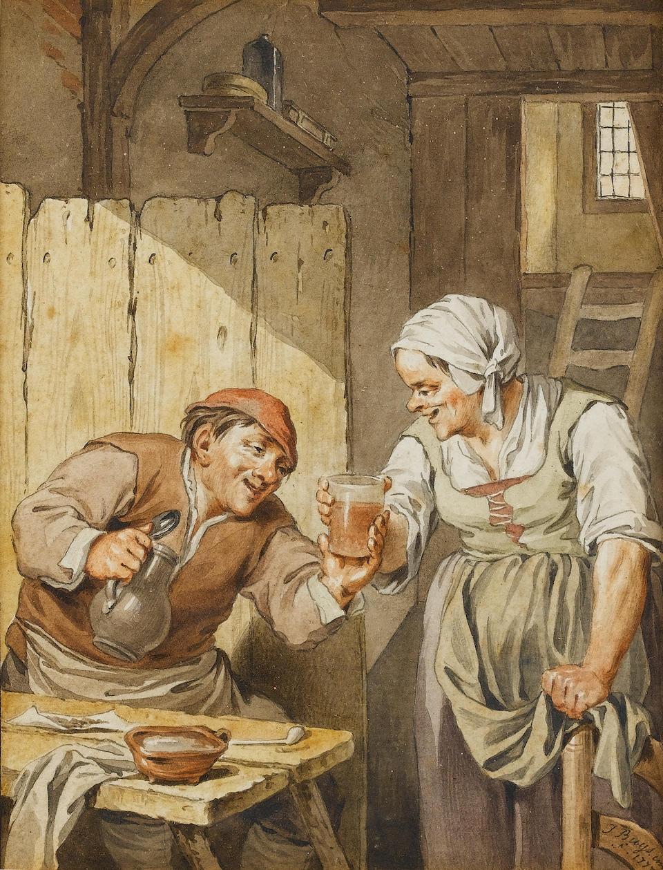 Jacobus Buys (Amsterdam 1724-1801) A tavern interior with peasants seated at a table; and A tavern interior with a peasant holding a glass of ale 146 x 112 mm. (2)