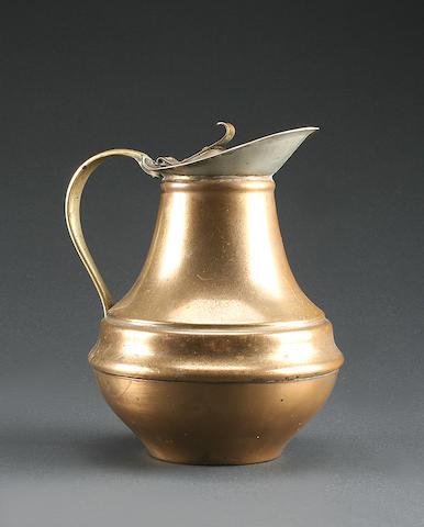 A copper lidded jug by W.A.S. Benson, circa 1910