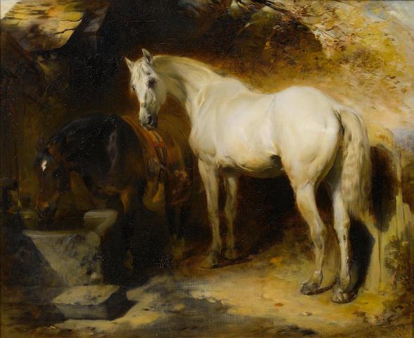William Huggins (British, 1820-1884) Horses watering