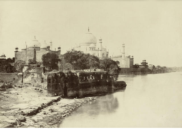 AGRA  View of the Taj Mahal from the bank of the Jumna, c.1858-1862