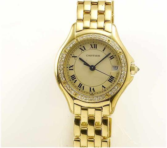 Cartier. A lady's 18ct gold diamond set centre seconds calendar bracelet watch  Cougar, 1990's