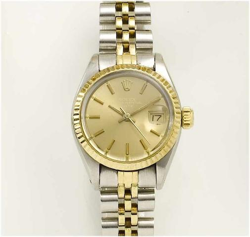 Rolex. A lady's stainless steel and gold centre seconds calendar bracelet watch  Oyster Date, 1981