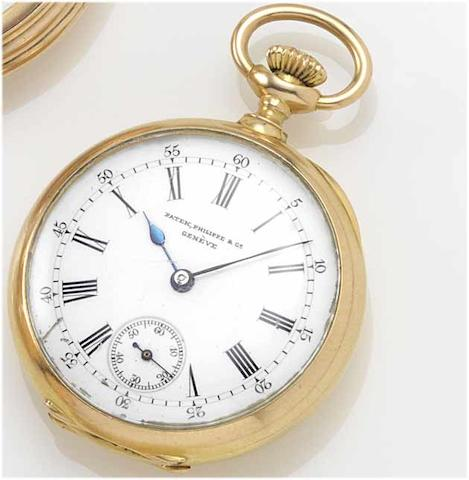 Patek Philippe. An 18ct gold open face fob watch with diamond set monogram  Case No. 217932, Movement No. 103290, circa 1890