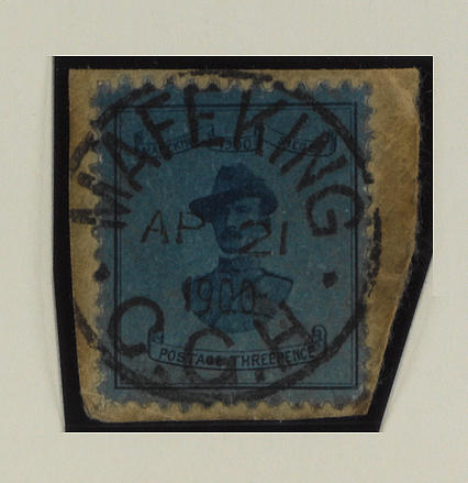 Cape of Good Hope: Mafeking: 1900 (6-11 Apr.) Baden-Powell 18½mm 3d. pale blue used on small piece, lower corner perf. imperfections otherwise fine. SG 19, £400. (364)