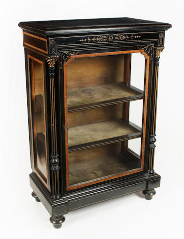 A 19th century ebonised and burr yew inlaid pier cabinet
