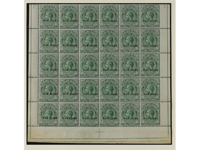 Falkland Islands: 1918-20 War Stamp ½d. dull yellowish green on thick greyish paper, variety wmk. reversed, in a bottom half sheet of 30 (6 x 5), a couple of minor gum wrinkles otherwise fine and fresh unmounted mint, a remarkable multiple. SG 70cx, £9,000 . (366)