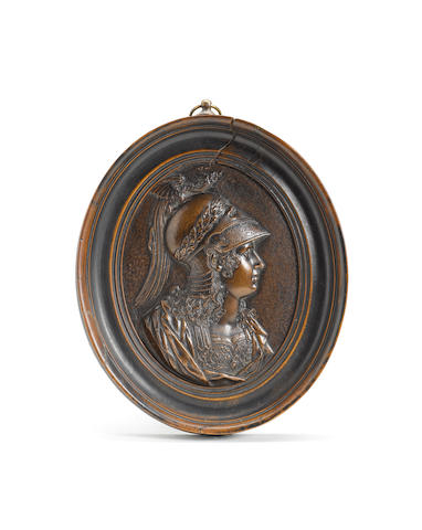 French, late 17th century  An oval bronze plaquette possibly depicting Queen Christina of Sweden as Minerva