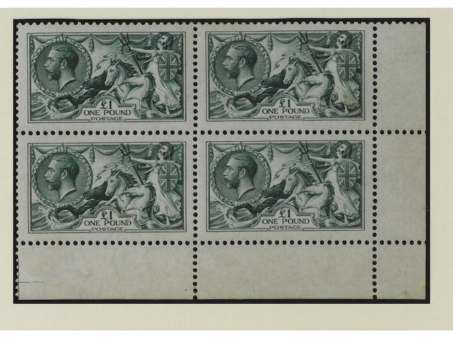 1913 Waterlow: £1 green in a mint lower right corner block, a few light wrinkles otherwise fine and fresh, good colour and very well centred, lower pair unmounted.