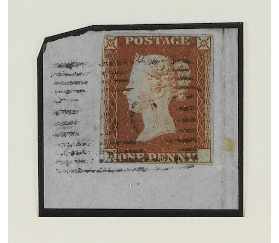 "1841 1d.: Plate 77: ""B blank"" error with the ""A"" omitted, an example on small piece tied by Scottish numeral cancel, just cut into at top left otherwise good margins, R.P.S. Certificate (1961) (when the piece was slightly larger) states ""...genuine, slightly defective at N.W."", with two publications where it was illustrated and photocopies of three of the other known examples, a fine and rare item. SG Spec. BS29a, £10,000."