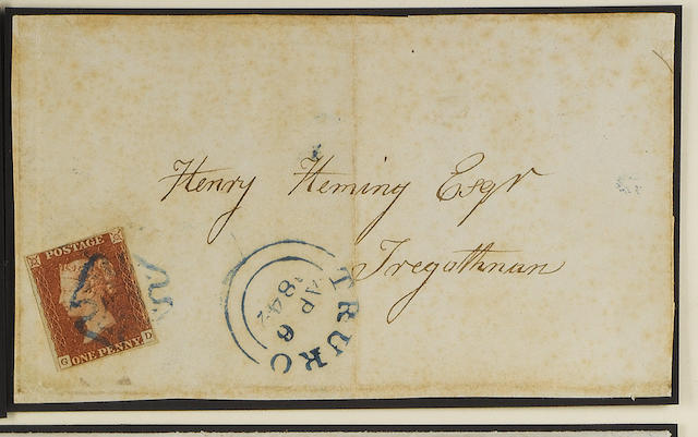 1841 1d.: GD, just touched at right otherwise good margins, tied to large piece by clear blue M.C. with Truro 1842 datestamp alongside, filing crease through top left corner otherwise fine.